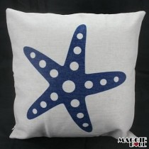 Vintage Linen Cotton Cushion Cover Home Decor Throw Pillow Case 45x45cm seastar[Beige Base]